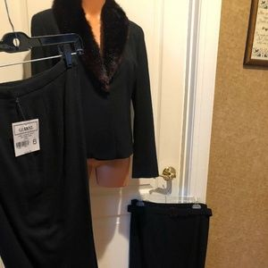 GIANNI PETITES Crepe Wool Suit Blazer Skirt Pants